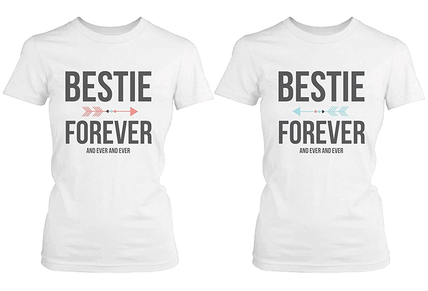 15316bca Amazon.com: Best Friend Shirts - Bestie Forever and Ever Matching White T- Shirts: Clothing