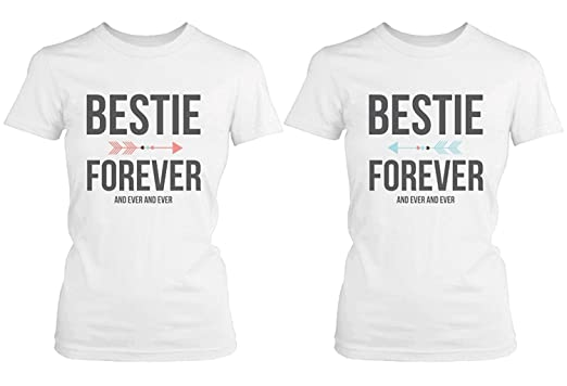 6be6e1434 Amazon.com  Best Friend Shirts - Bestie Forever and Ever Matching White T- Shirts  Clothing