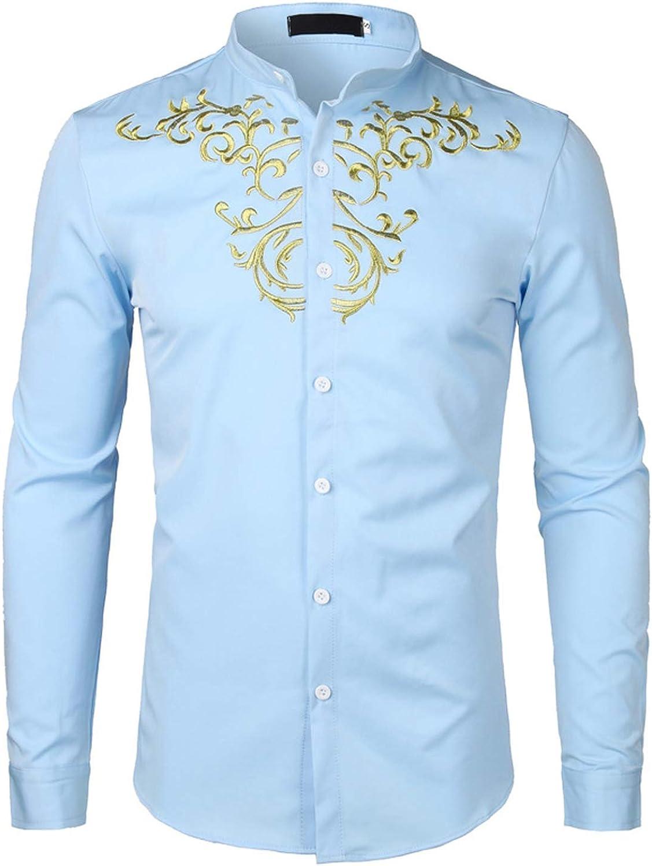 Lu Studio Camisa Bordada de Flores Doradas para Hombre, Manga Larga, Camisa Blanca Lisa, Ajuste Entallado, Boda - Azul Cielo - X-Large: Amazon.es: Ropa y accesorios