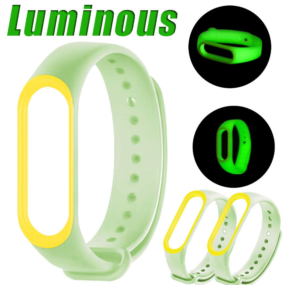 USHOT, New Luminous Silicon Soft Wrist Strap Watch Band Replacement For XIAOMI MI Band 3 EWF231Y