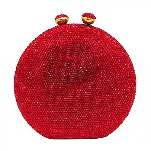 (Round Circular Women Red Crystal Clutch Bag Evening Handbags and Purses)