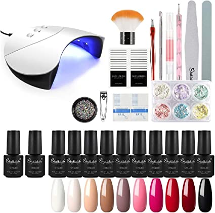 Shelloloh 7ml Esmalte de Gel Semipermanente Kit Uñas en Gel 10pcs Secador de Uñas LED/UV 36W Gel Esmalte de Uñas Curado Luz Máquina Base Top Gel para Manicura: Amazon.es: Belleza