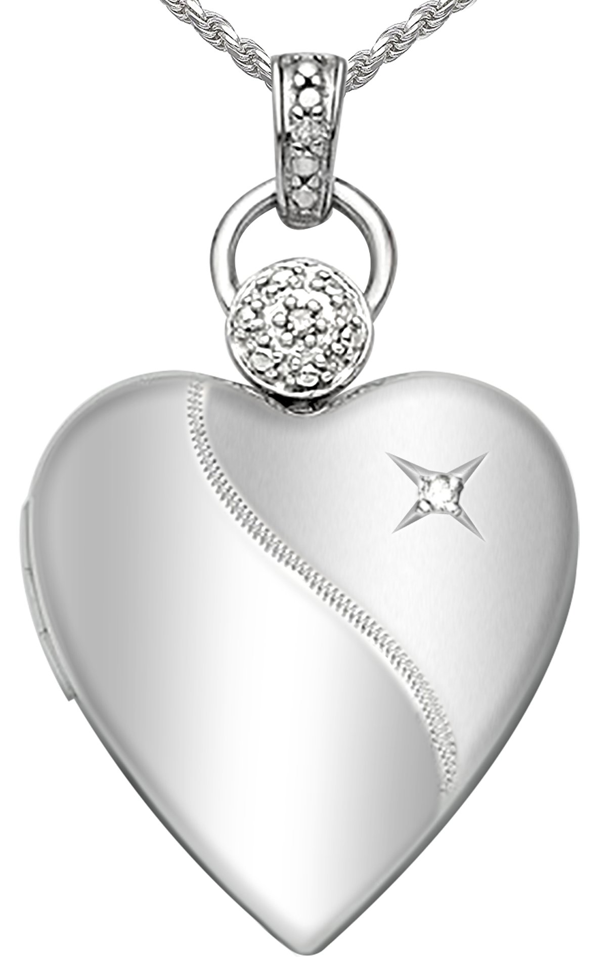 Ladies 0.8in 0.925 Sterling Silver 2 Photo Heart Locket with Diamond Accent Pendant 3.3mm Cable Necklace, 18''