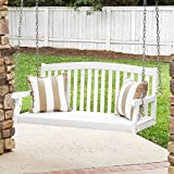 Best Choice Products 48in Wooden Curved Back Hanging Porch Swing Bench w/Metal Chains for Patio, Deck, Garden – White