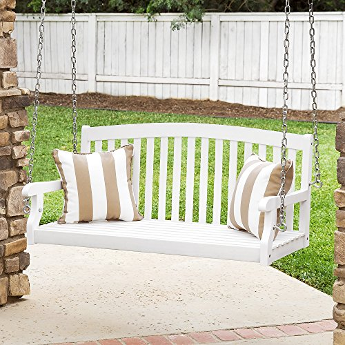 Best Choice Products 48in Wooden Curved Back Hanging Porch Swing Bench w/Metal Chains for Patio, Deck, Garden - (4' Classic Wooden Bench)