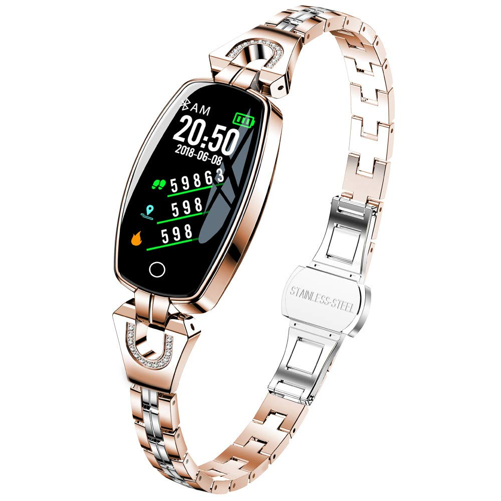 Boens Bluetooth Watch,Shiny Fashion Smart Watch Elliptical LED Display Sports Band with Pedometer Calorie Burning Sleeping Heart Rate Monitor Blood Pressure Fits iPhone 10 Samsung Galaxy S10 (Gold)