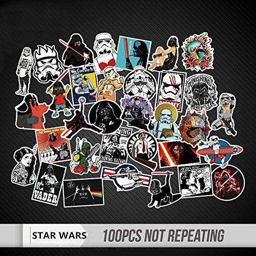 Hayder Star Wars Stickers Waterproof Random Cool for Wall Car Skateboard Luggage Cellphone Laptop Bicycle 100Pcs (Wars Vinyl Stickers Star)