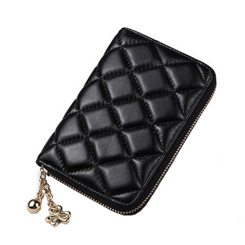 Porte-monnaie en cuir pour femmes Wallet court Sheepskin Mesdames Zipper, Noir Blancho Bedding
