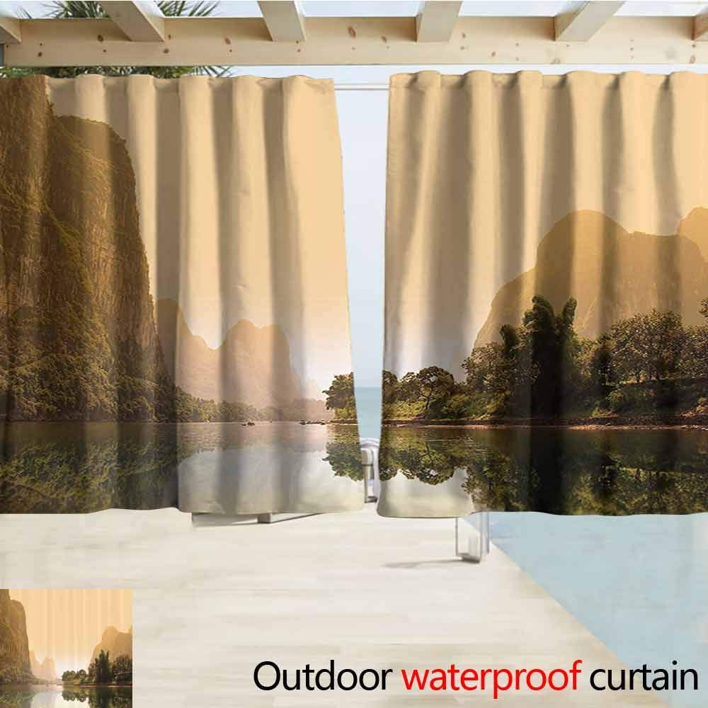 Outdoor Grommet Window Curtain Lake House Decor Collection Decorative Scenic Natural Landscape with Lake Trees Grass and Reflection in the Water Grommet Curtains for Bedroom W55 x L39 Green Blue