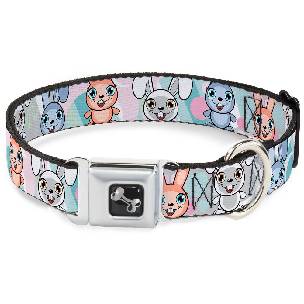 Buckle-Down Seatbelt Buckle Dog Collar Cute Bunnies Multi Pastel 1.5  Wide Fits 16-23  Neck Medium