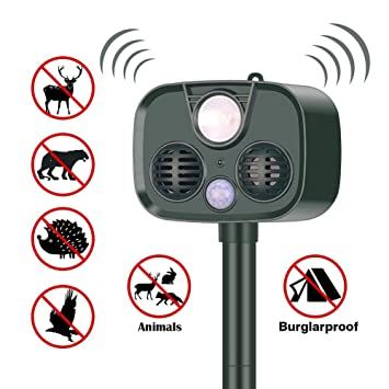 KJHG 2019 Nuevo Cat Fox Repellent Solar Power Ultrasonic ...