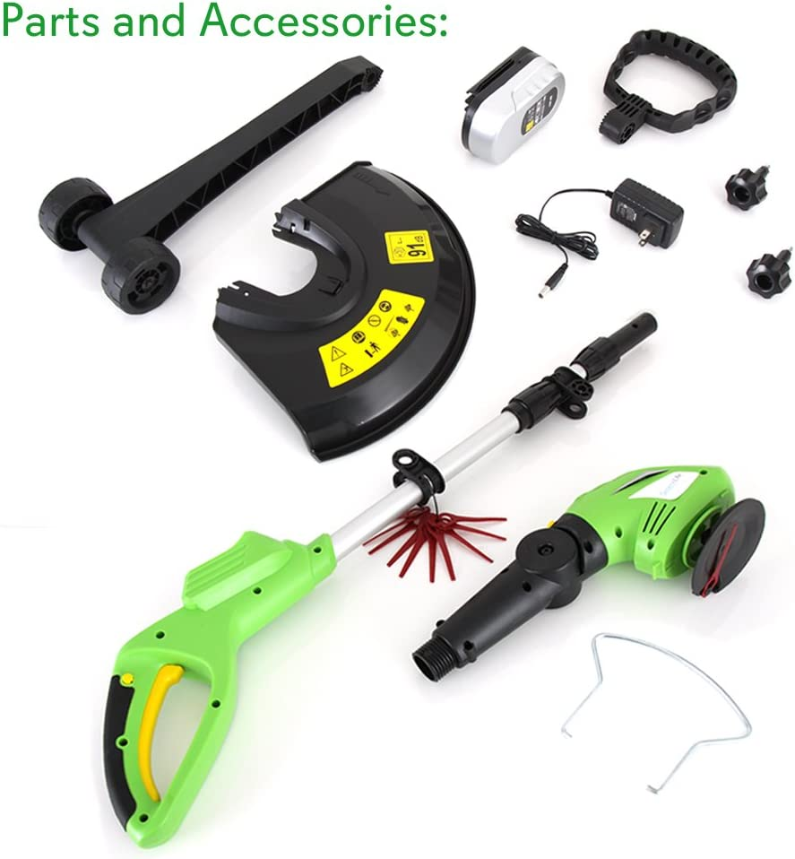 Power SereneLife PSLCGM25.5 Updated Clippers Cordless Light Green Grass Edge Trimmer