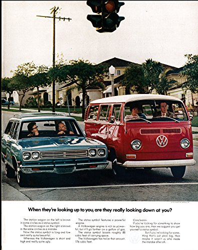 Vintage Vw Ads (1969 VW-Station Wagon Mini-Bus-Red-Looking Down-Original 13.5 * 10.5 Magazine Ad)