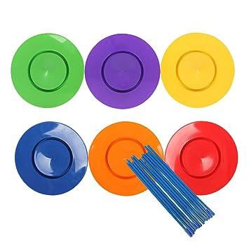 Ringe & Teller 6 Jonglierteller mit 12 Stäben Geschicklichkeitsspiel Jonglierset Spielzeug
