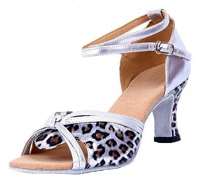 Honeystore Damen's Riemen Knoten-Leopard-Druck Tanzschuhe Silber 38 EU RHIxnh