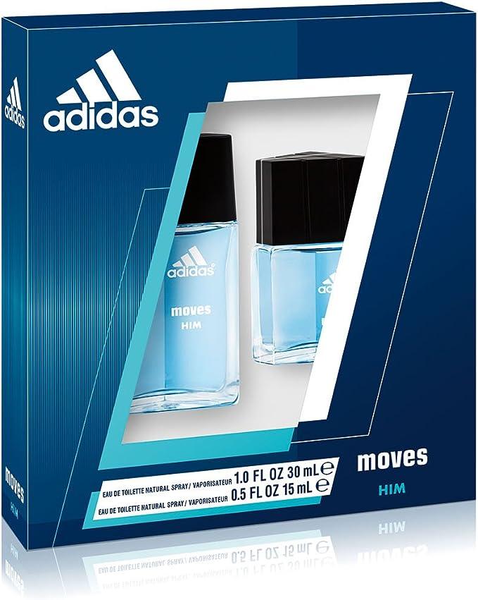 adidas Moves 2 PC. Set de regalo (Eau de Toilette Spray 1.0 oz + eau de toilette spray 0.5 oz) para hombres