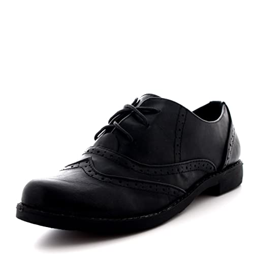9f4416ea305 Womens Brogue Wing Cap Work Vintage Formal Designer Office Flat Shoes -  Black - UK9