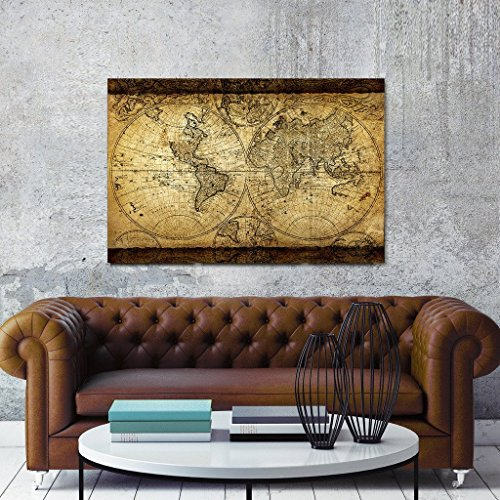 TOPHOME Vintage World Map Canvas Wall Art Retro Map of the World Canvas Prints Framed and Stretched for Living Room Ready to Hang 24