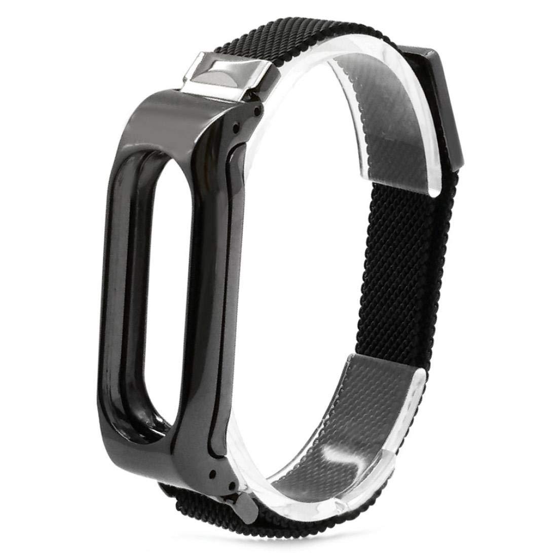 VNEIRW Bracelet de Rechange é lé gant pour Bracelet sans Fil xiaomi 2 Milanese en Acier Inoxydable mé tallique Xiaomi Mi Band 2 Schwarzes