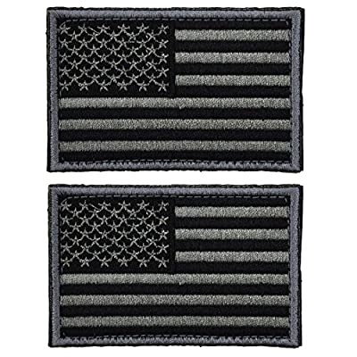 2 pieces Tactical USA Flag Patch -Black & Gray- Velcro American Flag US United States of America Military Uniform Emblem Patches by Prohouse