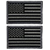 #3: 2 Pieces Tactical USA Flag Patch -Black & Gray- American Flag US United States of America Military Uniform Emblem Patches
