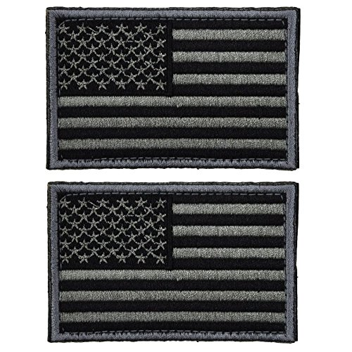 2 Pieces Tactical USA Flag Patch -Black & Gray- American Flag US United States of America Military Uniform Emblem ()