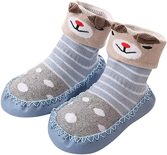 Baby Socks Boy Girl Moccasins Non Slip Indoor Slippers Socks for Age 0-3 Years