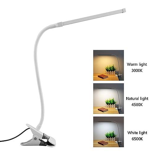 8W Clip LED Luz Lampara de Lectura Escritorio, Lámpara de Mesa de ...