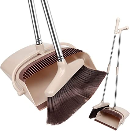 Amazon Com Fgy Broom And Dustpan Set Standing Upright Dust Pan W Extendable 28 36 Long Handle Broom 2size 3l Capacity 10 Great Edge Lightweight Robust For Kitchen Pet House Office Outdoor Indoor