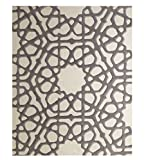 Gray Ivory White Floral Lattice Area Rug 8 x 10 | Stained Glass Rose Window
