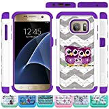 Galaxy S7 Case, HLCT Rugged Shock Proof Dual-Layer Case for Samsung Galaxy S7 (2016) (Owl Purple)