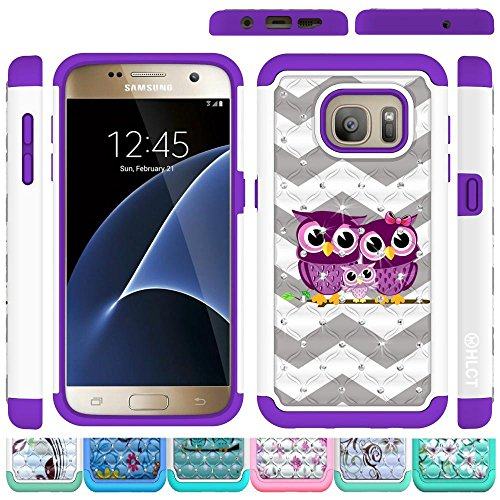 Price comparison product image Galaxy S7 Case,  HLCT Rugged Shock Proof Dual Layer PC and Soft Silicone Case for Galaxy S7 (Purple Owl)