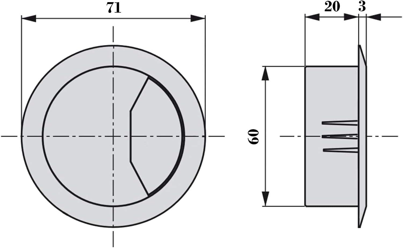 5 X Mprofi MT/® Passe C/âble Passage de C/âble en Plastique Passe-fil pour Bureau /Ø 60 mm Rond Marron