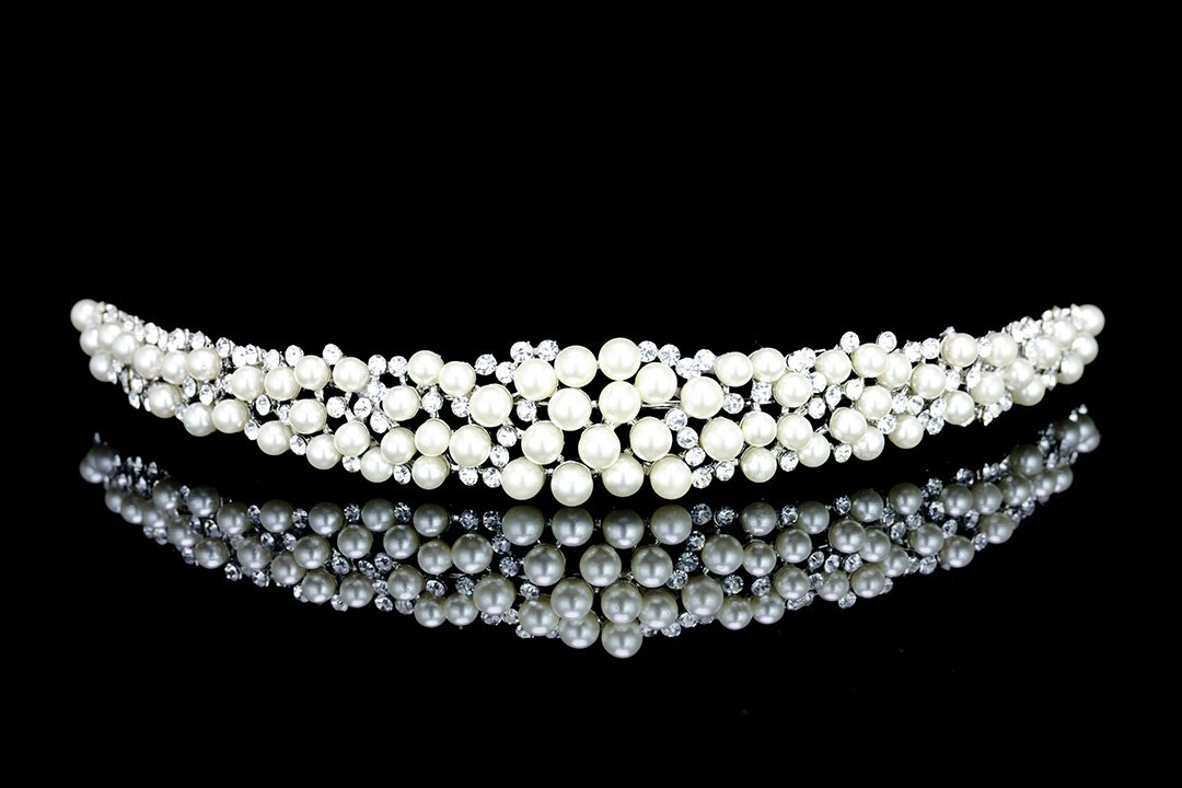 Scatter Faux Pearl Rhinestone Crystal Bridal Headband Tiara T1034