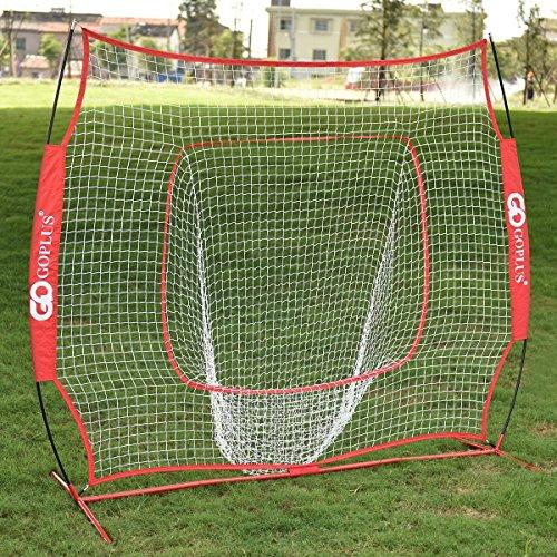Indoor Batting Net (Goplus 7'×7' Baseball & Softball Practice Net Hitting Batting Training Net w/ Bow Frame & Carry Bag)