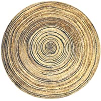 Round Natural Jute Rug 40 Dia (Sand Dial Blue)