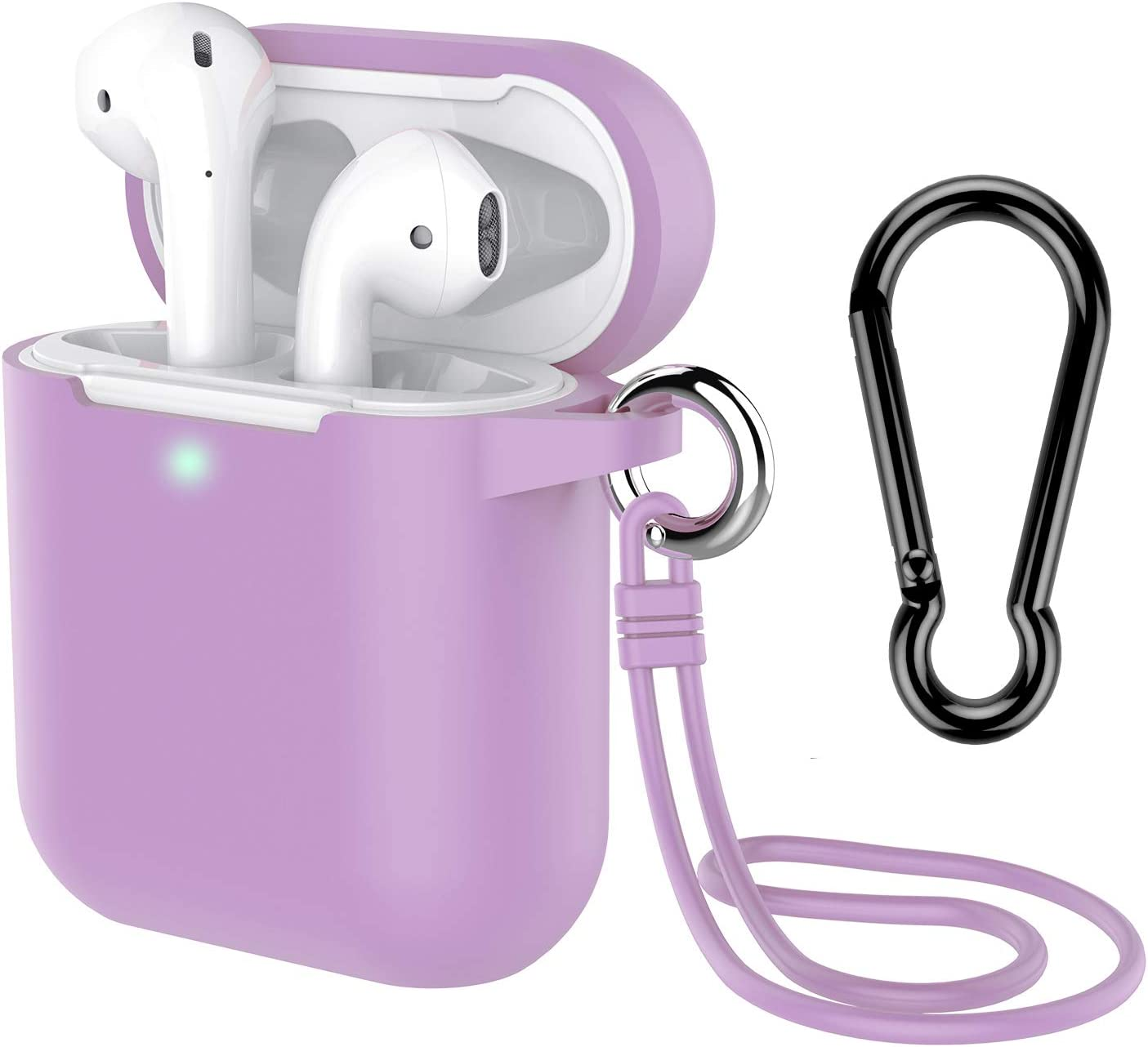AirPods Case with Keychain, Coffea Silicone Protective Case with Stap for AirPods 2 & 1 [Front LED Visible] (Light Purple)