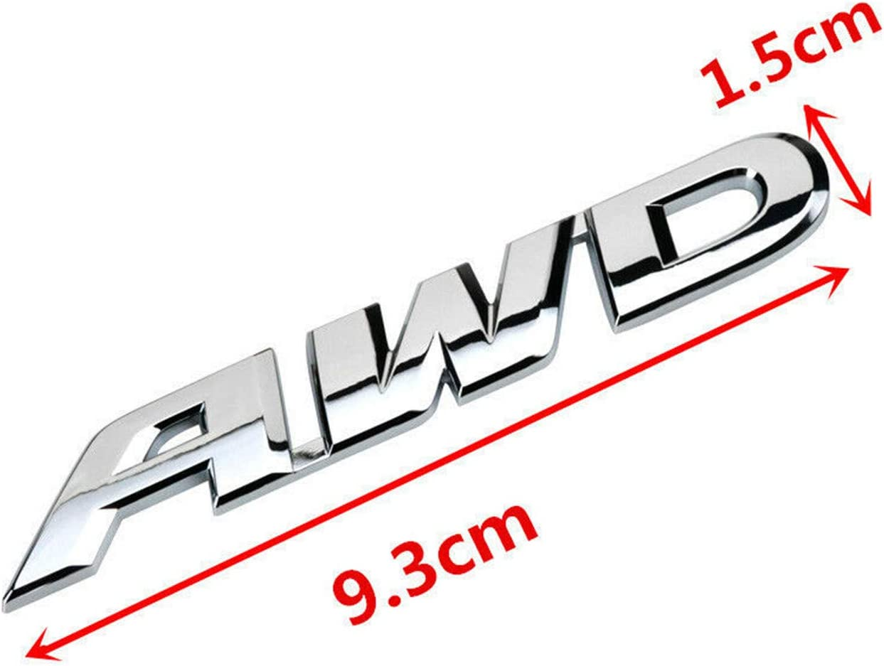 silver Chrome CAR AWD Logo Decal Rear Emblem Badge Fit 4x4 SUV