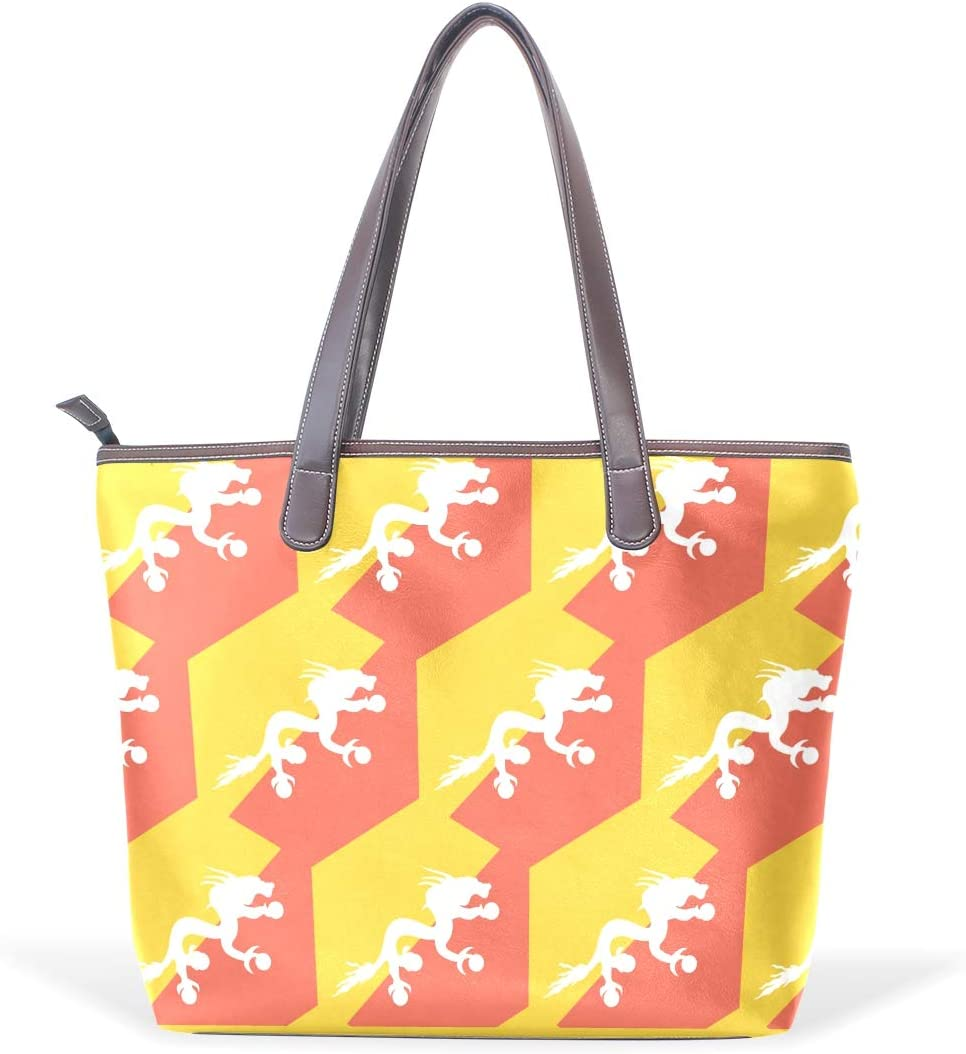 Bhutan Flag Womens Fashion Large Tote Ladies Handbag Shoulder Bag