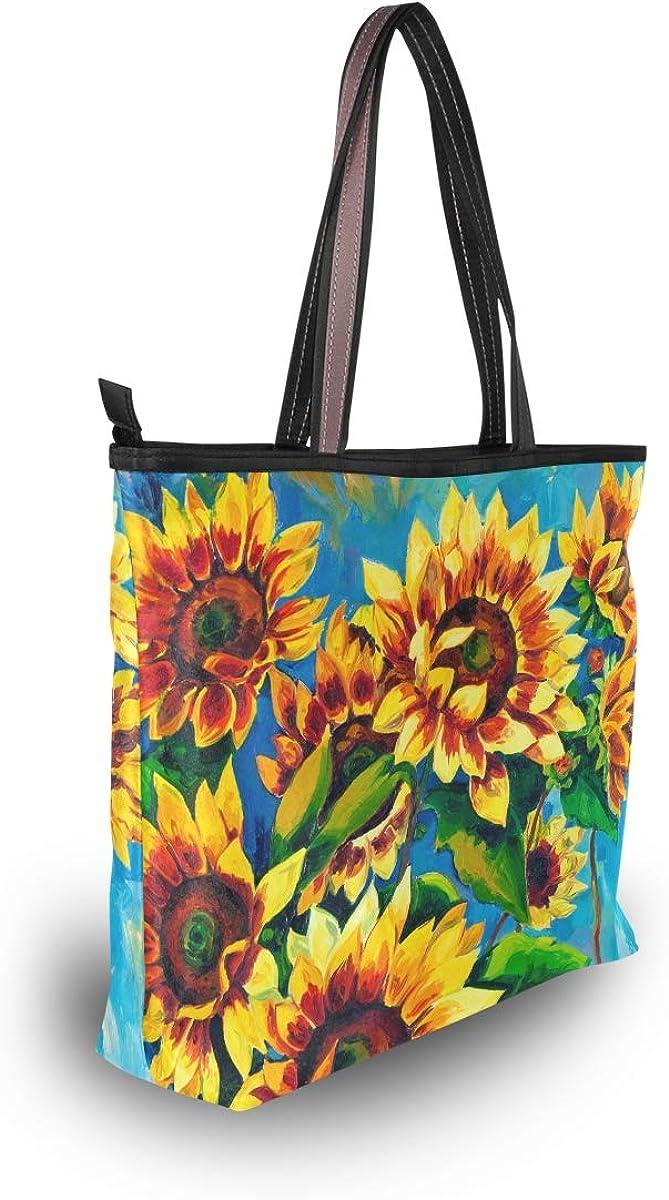 Women Top Handle Handbag Sunflowers Painting Shoulder Tote Bags