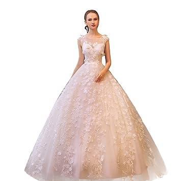 Vestidos De Novia De Princesa Dream Bride Vestido De Cola Sin Respaldo Floral A Medida Hecho