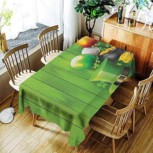 (XXANS Elastic Tablecloth Rectangular,St. Patricks Day,Wood Design with Shamrock Lucky Clovers Pot of Gold Coins and Horse Shoe,Table Cover for Dining,W60X90L Fern Green)