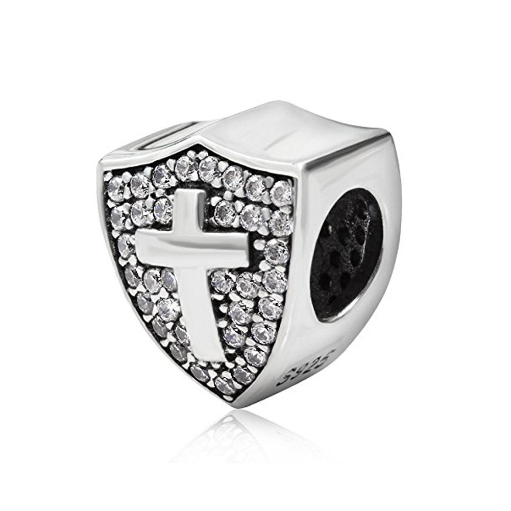 Shield Charm Cross Charm with Clear Cz 925 Sterling Silver Cross CHARM,Keep Faith Charm Bible Charm Beads