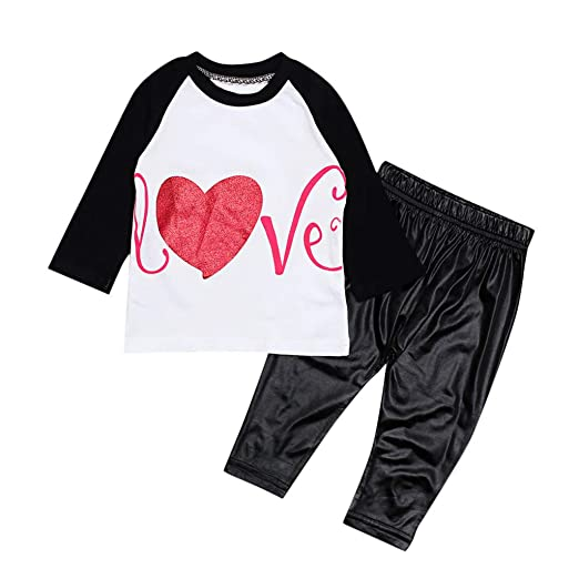 a904493b Baby Girls Boys Love Letter Print Valentine Day Tops Pants Outfits Set  Clothes Black