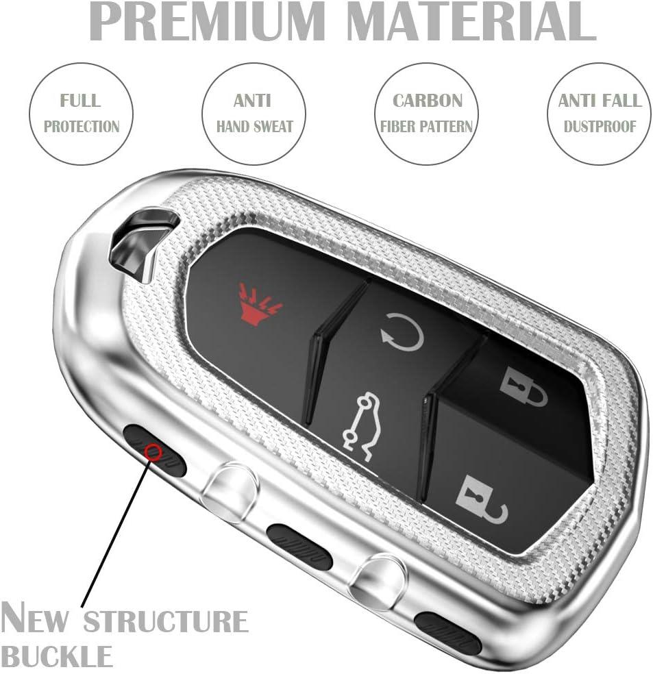 Carbon Fiber Pattern Glossy TPU Key Case Fits for Cadillac Escalade XT4 XT5 SRX CTS CT-6 ATS 3 4 5 6 Button Keyless Smart Key Lcyam Key Fob Cover for Cadillac Pink