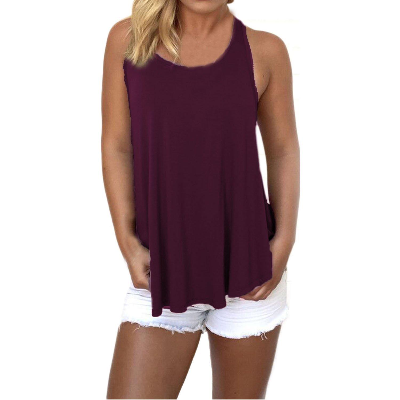 SUNNOW® Damen T-Shirt Tank Top Ärmellos Rundhals Ausschnitt Rückenfrei Weste Einfarbig Casual Bluse Tops Sommer