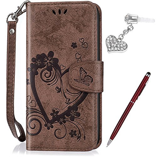 Galaxy S7 Edge Case,Galaxy S7 Edge Cover,ikasus Embossing Love Butterfly Flower Flip Folio Wallet Case PU Leather Scratch Resistant Stand Card Slots Case +Touch Pen Dust Plug for Galaxy S7 Edge,Brown Touch Folio