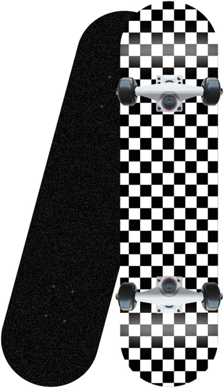 CUTEY Standard Tricks Skateboard Komplett 31 Kariertes Muster 7 Schichten Ahornplattformen Doppel Kick-Concave Skateboarddecks,A
