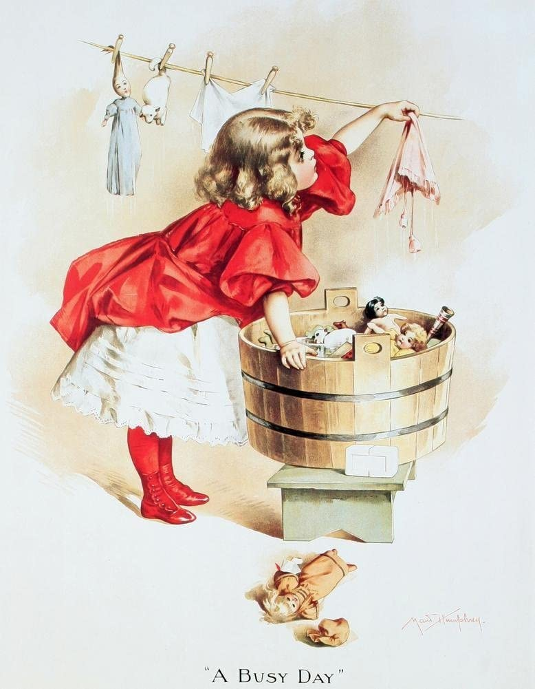 Ivory Soap Girl Washing Tin Sign 13 x 16in