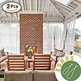 NICETOWN Outdoor Sheer Curtain Set - Mildew Resistant Thin Fabric Sheer Voile Drapes for Pergola/Balcony/ Verandah, 2 Panels Rope Tiebacks Included (2 Panels Per Package, 54 x 108 Inch in White)